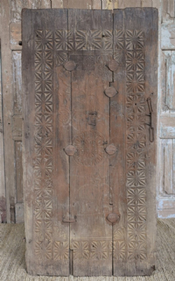 A Rare Tribal Door with Elephant & Tree of Life Carvings - 1880 Orissa